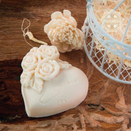 Rózsás szív szappan organza tasakban