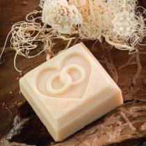 Gyűrűs szíves szappan organza tasakban